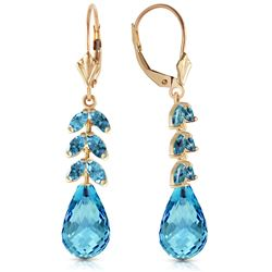 Genuine 11.20 ctw Blue Topaz Earrings Jewelry 14KT Yellow Gold - REF-56X2M