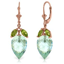 Genuine 23.5 ctw Blue Topaz & Peridot Earrings Jewelry 14KT Rose Gold - REF-67T9A