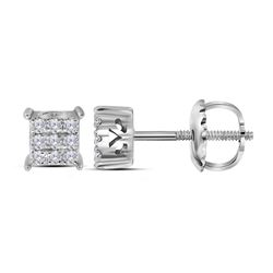 0.15 CTW Diamond Square Cluster Stud Earrings 10KT White Gold - REF-13W4K