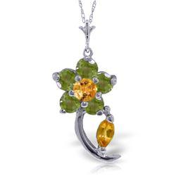 Genuine 0.87 ctw Citrine & Peridot Necklace Jewelry 14KT White Gold - REF-25K4V