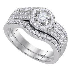 0.50 CTW Diamond Milgrain Triple Row Bridal Ring 10KT White Gold - REF-65Y9X