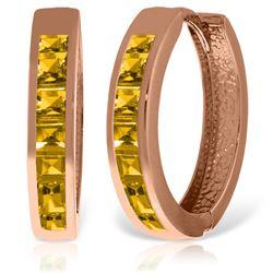 Genuine 1.20 ctw Citrine Earrings Jewelry 14KT Rose Gold - REF-56K7V