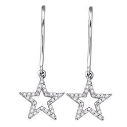 0.14 CTW Diamond Star Dangle Earrings 10KT White Gold - REF-18F2N