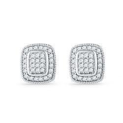 0.25 CTW Diamond Square Cluster Stud Earrings 10KT White Gold - REF-19H4M
