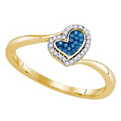 0.09 CTW Blue Color Diamond Heart Love Ring 10KT Yellow Gold - REF-13N4F