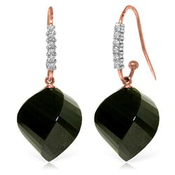 Genuine 31.18 ctw Black Spinel & Diamond Earrings Jewelry 14KT Rose Gold - REF-54V2W