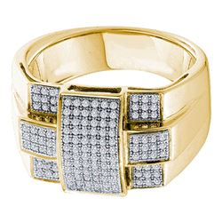 0.50 CTW Mens Diamond Square Cross Cluster Ring 10KT Yellow Gold - REF-79F4N