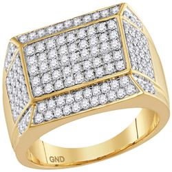 1.55 CTW Mens Diamond Rectangle Cluster Ring 14KT Yellow Gold - REF-128F9N