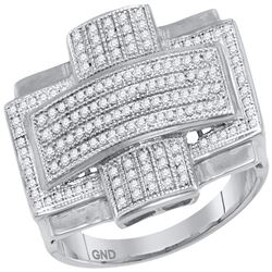 0.50 CTW Mens Diamond Convex Cross Rectangle Cluster Ring 10KT White Gold - REF-67Y4X