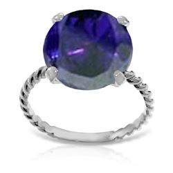 Genuine 9.8 ctw Sapphire Ring Jewelry 14KT White Gold - REF-88Z8N