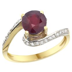 Natural 1.29 ctw ruby & Diamond Engagement Ring 14K Yellow Gold - REF-53M3H