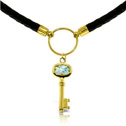 Genuine 0.50 ctw Aquamarine Necklace Jewelry 14KT Yellow Gold - REF-66K6V