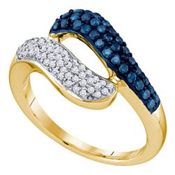 0.50 CTW Blue Color Diamond Cocktail Ring 10KT Yellow Gold - REF-37X5Y
