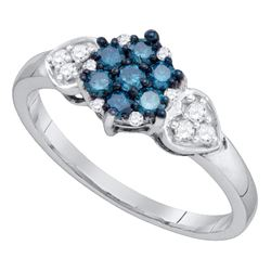0.35 CTW Blue Color Diamond Cluster Ring 10KT White Gold - REF-22K4W