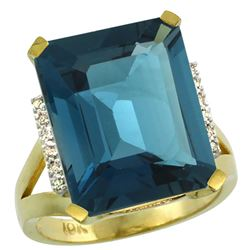 Natural 12.13 ctw London-blue-topaz & Diamond Engagement Ring 10K Yellow Gold - REF-60F3N