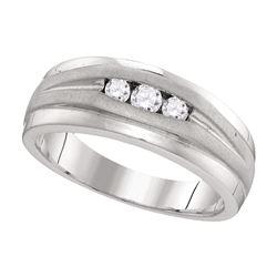 0.25 CTW Mens Diamond Wedding Ring 10KT White Gold - REF-33F8N