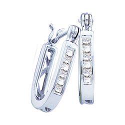 0.25 CTW Princess Diamond Single Row Hoop Earrings 14KT White Gold - REF-37W5K