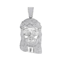 3.05 CTW Mens Diamond Jesus Head Pendant 10KT White Gold - REF-149F9N