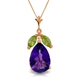 Genuine 6.5 ctw Amethyst & Peridot Necklace Jewelry 14KT Rose Gold - REF-38Z2N