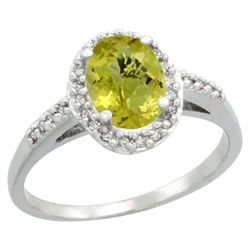Natural 1.3 ctw Lemon-quartz & Diamond Engagement Ring 14K White Gold - REF-31R7Z
