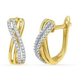 0.20 CTW Diamond Hoop Earrings 10KT Yellow Gold - REF-18F2N