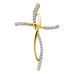 0.10 CTW Diamond Woven Infinity Cross Pendant 14KT Yellow Gold - REF-14X9Y