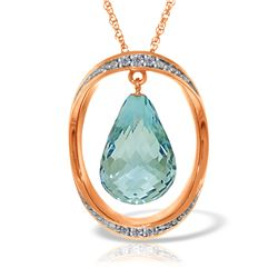 Genuine 11.60 ctw Blue Topaz & Diamond Necklace Jewelry 14KT Rose Gold - REF-112A2K