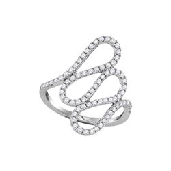 0.54 CTW Diamond Openwork Single Row Cascading Ring 18KT White Gold - REF-97K4W