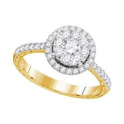 0.88 CTW Diamond Bridal Wedding Engagement Ring 14KT Yellow Gold - REF-112F5N