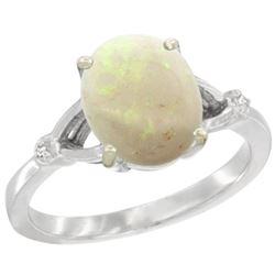 Natural 1.42 ctw Opal & Diamond Engagement Ring 10K White Gold - REF-24R2Z