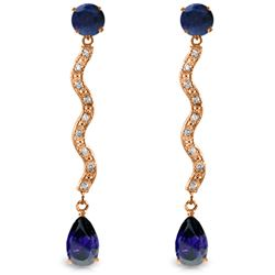 Genuine 4.35 ctw Sapphire & Diamond Earrings Jewelry 14KT Rose Gold - REF-73Y6F