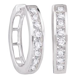 0.50 CTW Diamond Hoop Earrings 14KT White Gold - REF-56X2Y