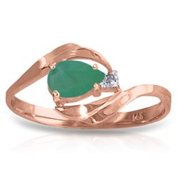 Genuine 0.51 ctw Emerald & Diamond Ring Jewelry 14KT Rose Gold - REF-30H2X