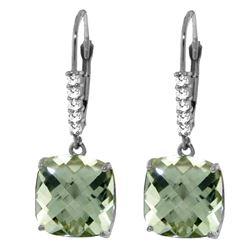 Genuine 7.35 ctw Green Amethyst & Diamond Earrings Jewelry 14KT White Gold - REF-57N3R