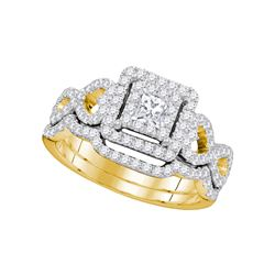 0.85 CTW Princess Diamond Woven Bridal Wedding Engagement Ring 14KT Yellow Gold - REF-104M9H