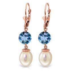 Genuine 11.10 ctw Blue Topaz Earrings Jewelry 14KT Rose Gold - REF-26N6R