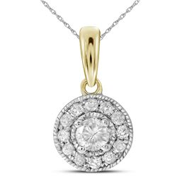 0.26 CTW Diamond Solitaire Pendant 14KT Yellow Gold - REF-30Y2X