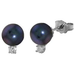 Genuine 4.1 ctw Black Pearl & Diamond Earrings Jewelry 14KT White Gold - REF-21T6A