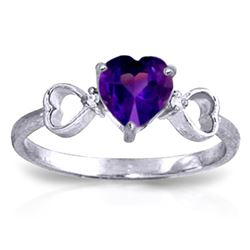 Genuine 0.96 ctw Amethyst & Diamond Ring Jewelry 14KT White Gold - REF-41K4V