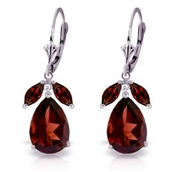 Genuine 13 ctw Garnet Earrings Jewelry 14KT White Gold - REF-71K8V