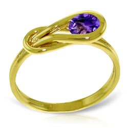 Genuine 0.65 ctw Amethyst Ring Jewelry 14KT Yellow Gold - REF-47R2P