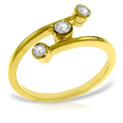 Genuine 0.30 ctw Diamond Anniversary Ring Jewelry 14KT Yellow Gold - REF-59H2X