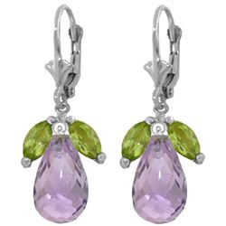 Genuine 14.4 ctw Peridot & Amethyst Earrings Jewelry 14KT White Gold - REF-46F7Z
