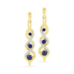 0.50 CTW Created Blue Sapphire Cascade Dangle Earrings 10KT Yellow Gold - REF-19K4W