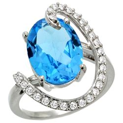 Natural 5.89 ctw Swiss-blue-topaz & Diamond Engagement Ring 14K White Gold - REF-91A4V