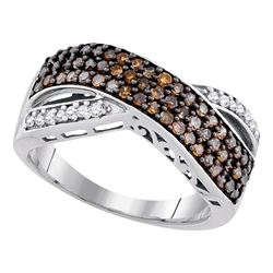 0.70 CTW Cognac-brown Color Diamond Crossover Ring 10KT White Gold - REF-33F8N