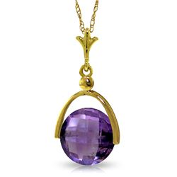 Genuine 3.25 ctw Amethyst Necklace Jewelry 14KT Yellow Gold - REF-22M3T