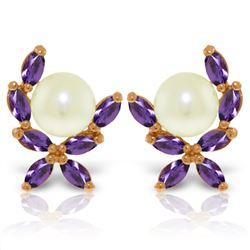 Genuine 3.25 ctw Pearl & Amethyst Earrings Jewelry 14KT Rose Gold - REF-30P2H