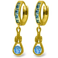 Genuine 2.5 ctw Blue Topaz Earrings Jewelry 14KT Yellow Gold - REF-75H3X