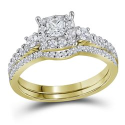 0.88 CTW Princess Diamond Bridal Engagement Ring 14k Yellow Gold - REF-104Y9X